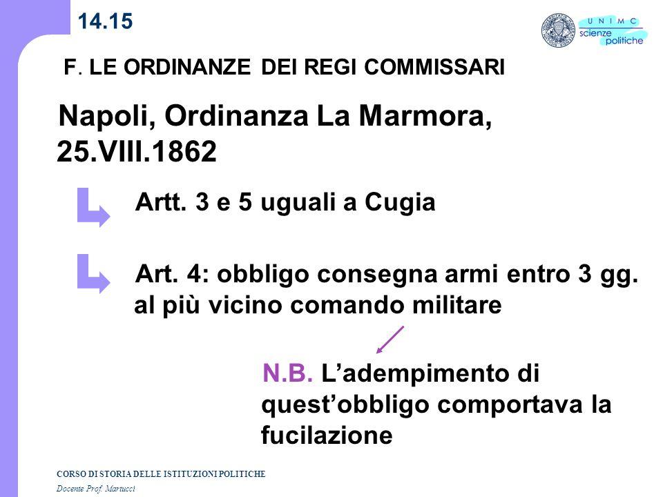 CORSO DI STORIA DELLE ISTITUZIONI POLITICHE Docente Prof. Martucci 14.15 Artt. 3 e 5 uguali a Cugia Napoli, Ordinanza La Marmora, 25.VIII.1862 Art. 4: