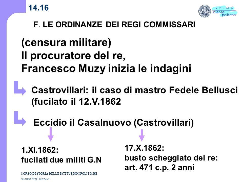 CORSO DI STORIA DELLE ISTITUZIONI POLITICHE Docente Prof. Martucci 14.16 F. LE ORDINANZE DEI REGI COMMISSARI (censura militare) Il procuratore del re,