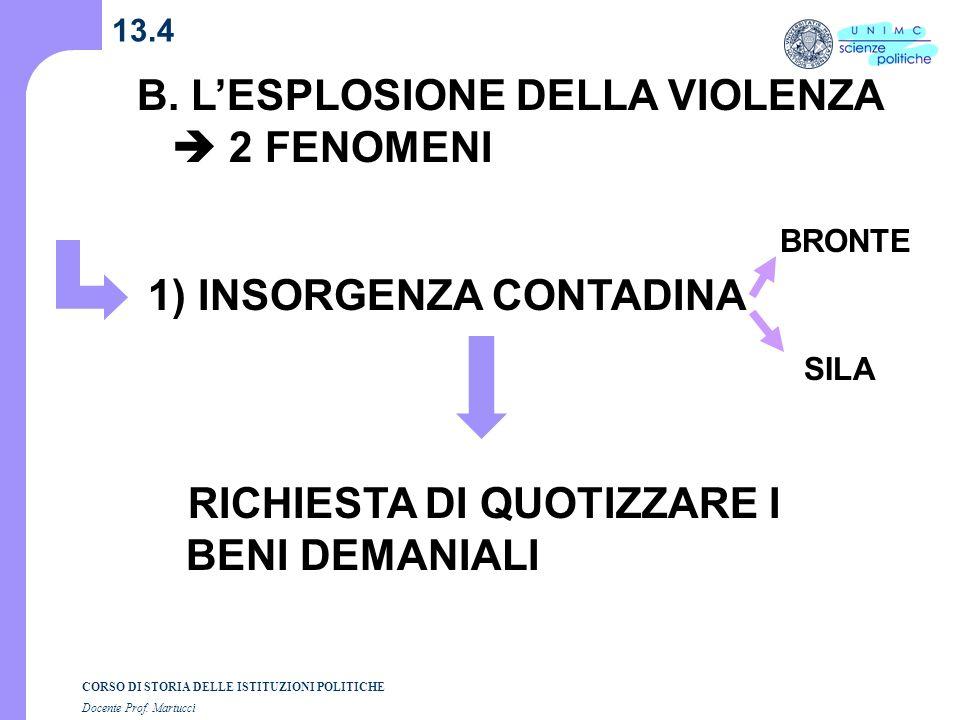 CORSO DI STORIA DELLE ISTITUZIONI POLITICHE Docente Prof. Martucci 13.4 B. LESPLOSIONE DELLA VIOLENZA 2 FENOMENI 1) INSORGENZA CONTADINA RICHIESTA DI