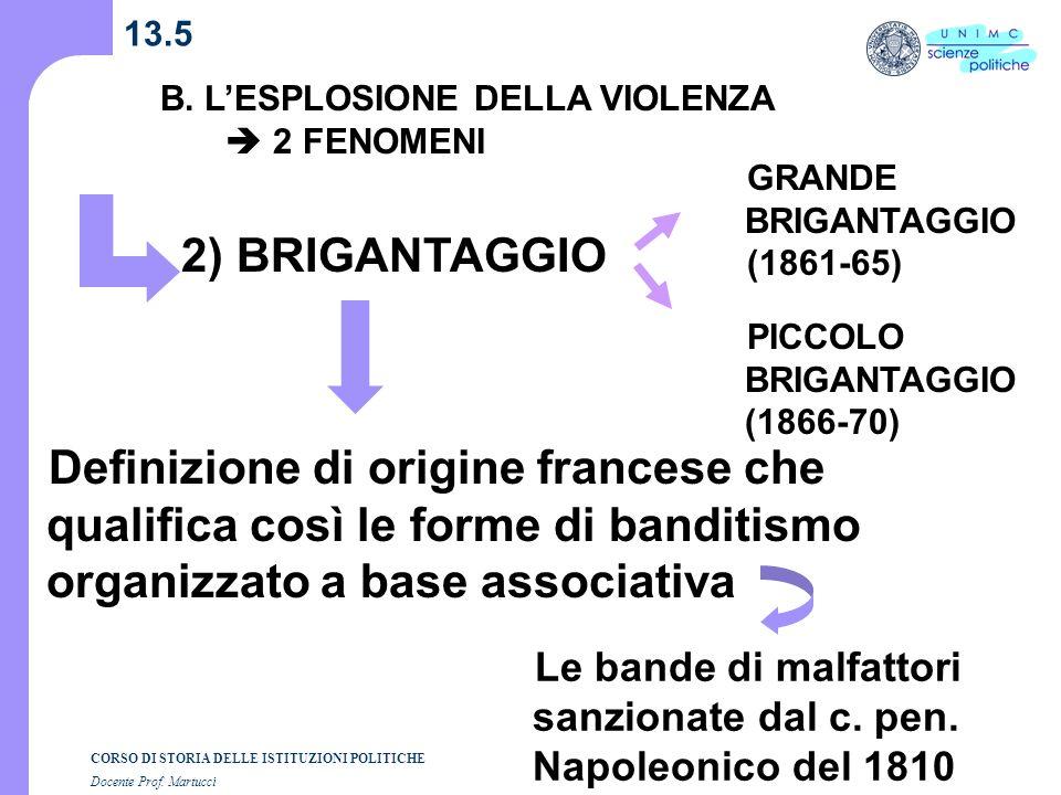 CORSO DI STORIA DELLE ISTITUZIONI POLITICHE Docente Prof. Martucci 13.5 B. LESPLOSIONE DELLA VIOLENZA 2 FENOMENI 2) BRIGANTAGGIO Definizione di origin