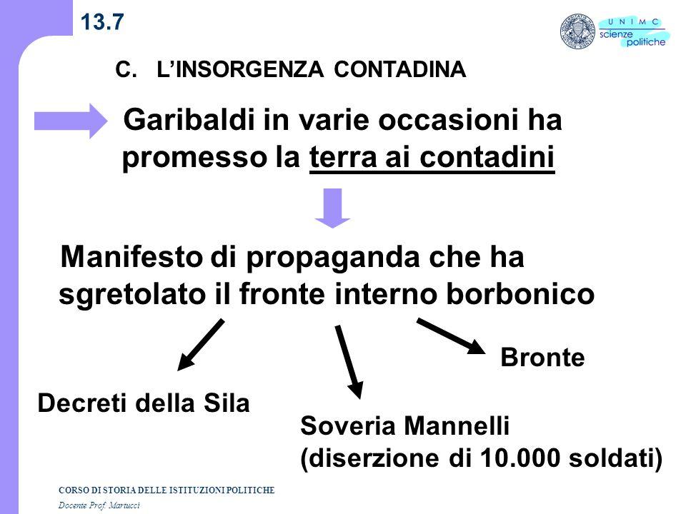 CORSO DI STORIA DELLE ISTITUZIONI POLITICHE Docente Prof. Martucci 13.7 C. LINSORGENZA CONTADINA Garibaldi in varie occasioni ha promesso la terra ai