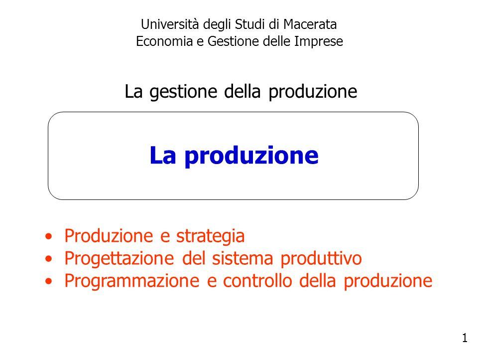 1 La produzione Università degli Studi di Macerata Economia e Gestione delle Imprese La gestione della produzione Produzione e strategia Progettazione