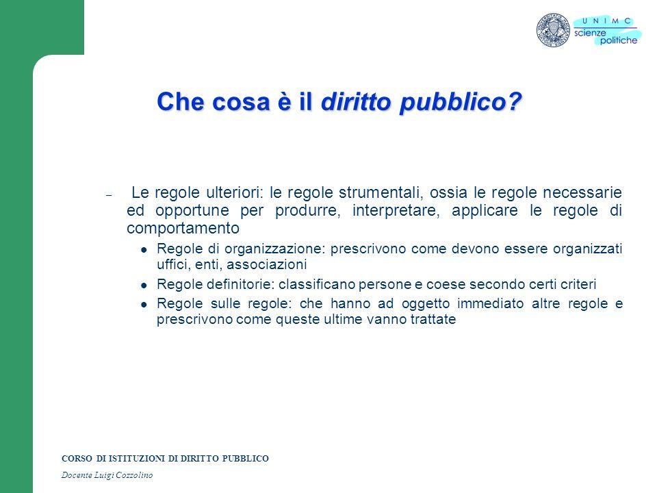 CORSO DI ISTITUZIONI DI DIRITTO PUBBLICO Docente Luigi Cozzolino Che cosa è il diritto pubblico? – Le regole ulteriori: le regole strumentali, ossia l