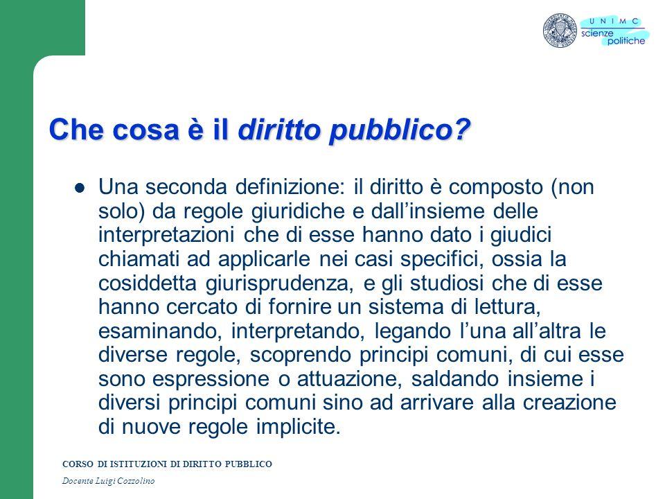 CORSO DI ISTITUZIONI DI DIRITTO PUBBLICO Docente Luigi Cozzolino Che cosa è il diritto pubblico? Una seconda definizione: il diritto è composto (non s