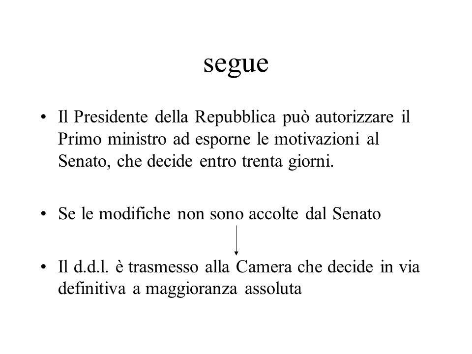 segue Il Presidente della Repubblica può autorizzare il Primo ministro ad esporne le motivazioni al Senato, che decide entro trenta giorni.