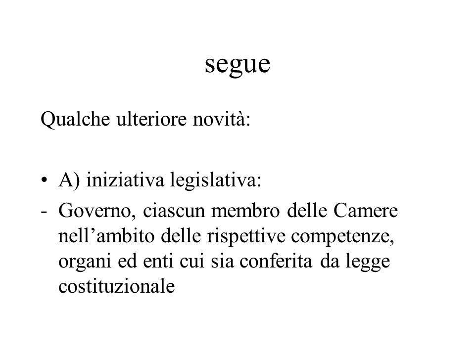 segue Qualche ulteriore novità: A) iniziativa legislativa: -Governo, ciascun membro delle Camere nellambito delle rispettive competenze, organi ed enti cui sia conferita da legge costituzionale