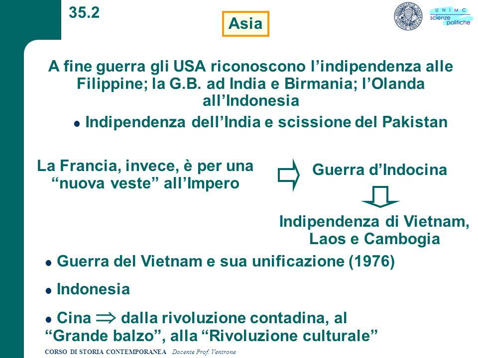 CORSO DI STORIA CONTEMPORANEA Docente Prof. Ventrone 35.2 Asia A fine guerra gli USA riconoscono lindipendenza alle Filippine; la G.B. ad India e Birm