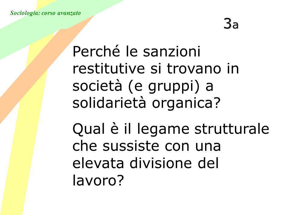 Sociologia: corso avanzato 3a3a3a3a Perché le sanzioni restitutive si trovano in società (e gruppi) a solidarietà organica.