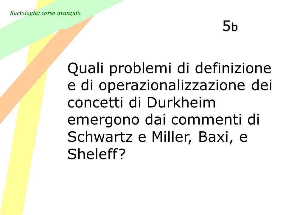 Sociologia: corso avanzato 5b5b5b5b Quali problemi di definizione e di operazionalizzazione dei concetti di Durkheim emergono dai commenti di Schwartz e Miller, Baxi, e Sheleff?