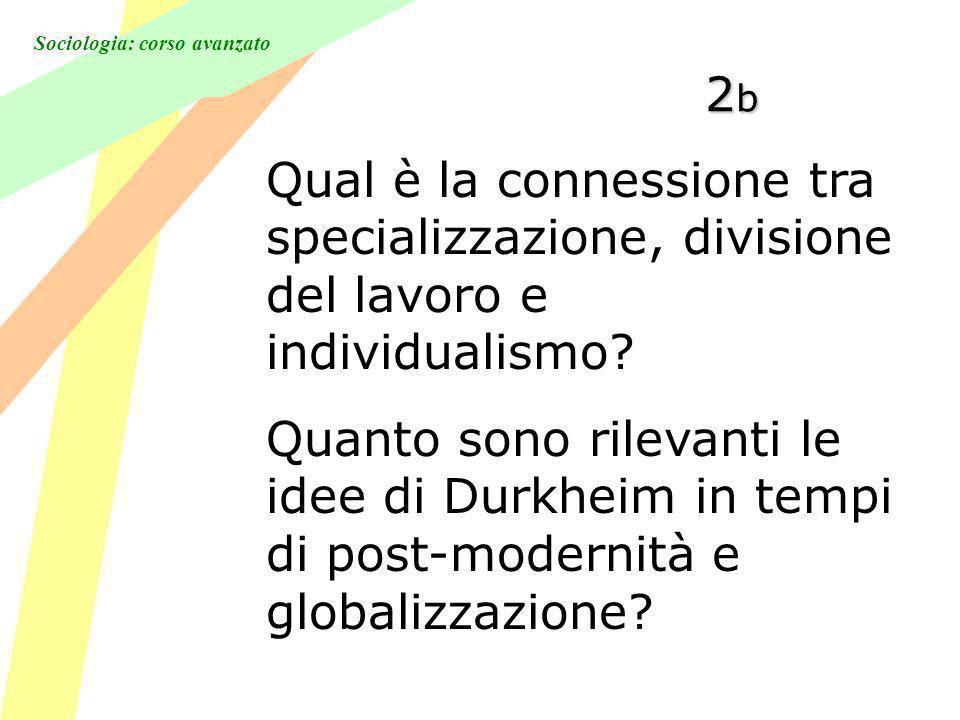 Sociologia: corso avanzato 2b2b2b2b Qual è la connessione tra specializzazione, divisione del lavoro e individualismo.