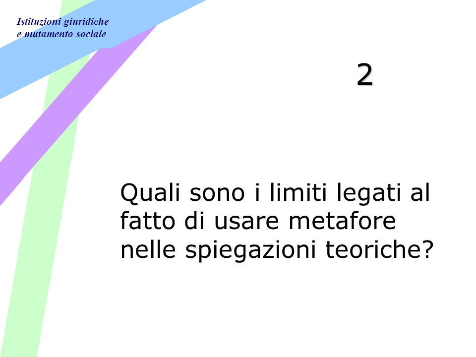 Istituzioni giuridiche e mutamento sociale 2 Quali sono i limiti legati al fatto di usare metafore nelle spiegazioni teoriche?