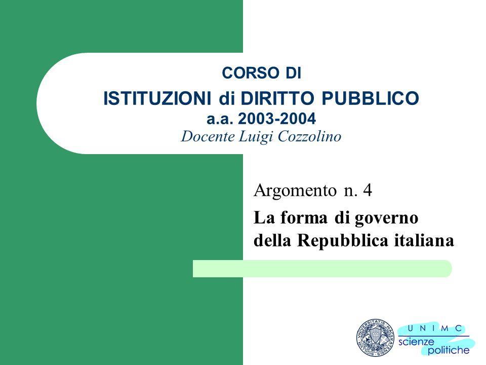 CORSO DI ISTITUZIONI di DIRITTO PUBBLICO a.a. 2003-2004 Docente Luigi Cozzolino Argomento n. 4 La forma di governo della Repubblica italiana
