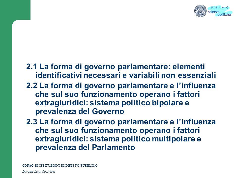 CORSO DI ISTITUZIONI DI DIRITTO PUBBLICO Docente Luigi Cozzolino 2.1 La forma di governo parlamentare: elementi identificativi necessari e variabili n