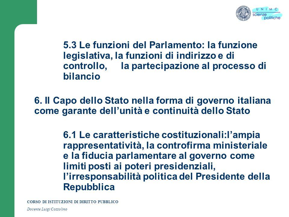 CORSO DI ISTITUZIONI DI DIRITTO PUBBLICO Docente Luigi Cozzolino 5.3 Le funzioni del Parlamento: la funzione legislativa, la funzioni di indirizzo e d