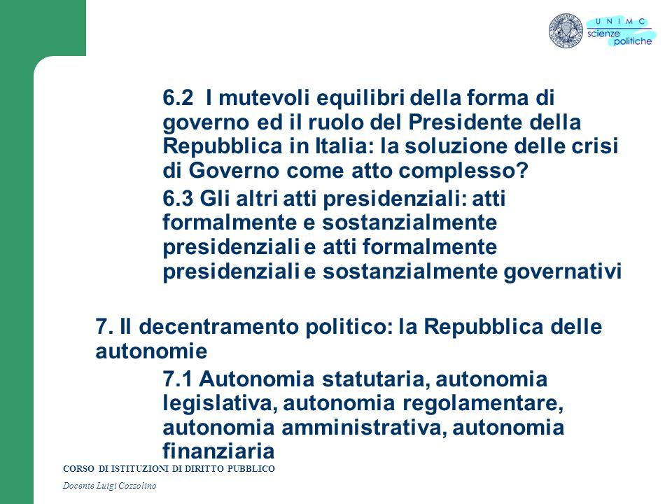 CORSO DI ISTITUZIONI DI DIRITTO PUBBLICO Docente Luigi Cozzolino 6.2 I mutevoli equilibri della forma di governo ed il ruolo del Presidente della Repu