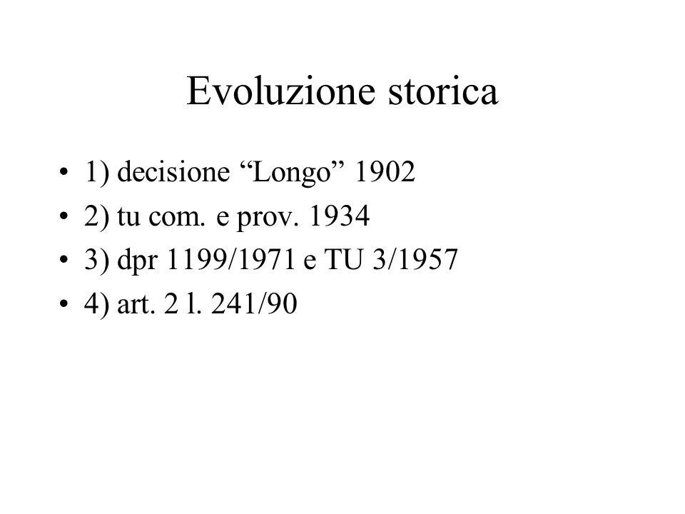 Evoluzione storica 1) decisione Longo 1902 2) tu com. e prov. 1934 3) dpr 1199/1971 e TU 3/1957 4) art. 2 l. 241/90
