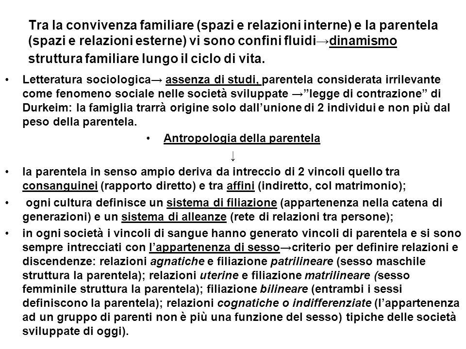 Tra la convivenza familiare (spazi e relazioni interne) e la parentela (spazi e relazioni esterne) vi sono confini fluididinamismo struttura familiare