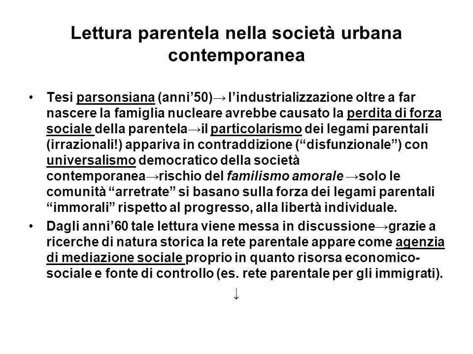 Lettura parentela nella società urbana contemporanea Tesi parsonsiana (anni50) lindustrializzazione oltre a far nascere la famiglia nucleare avrebbe c