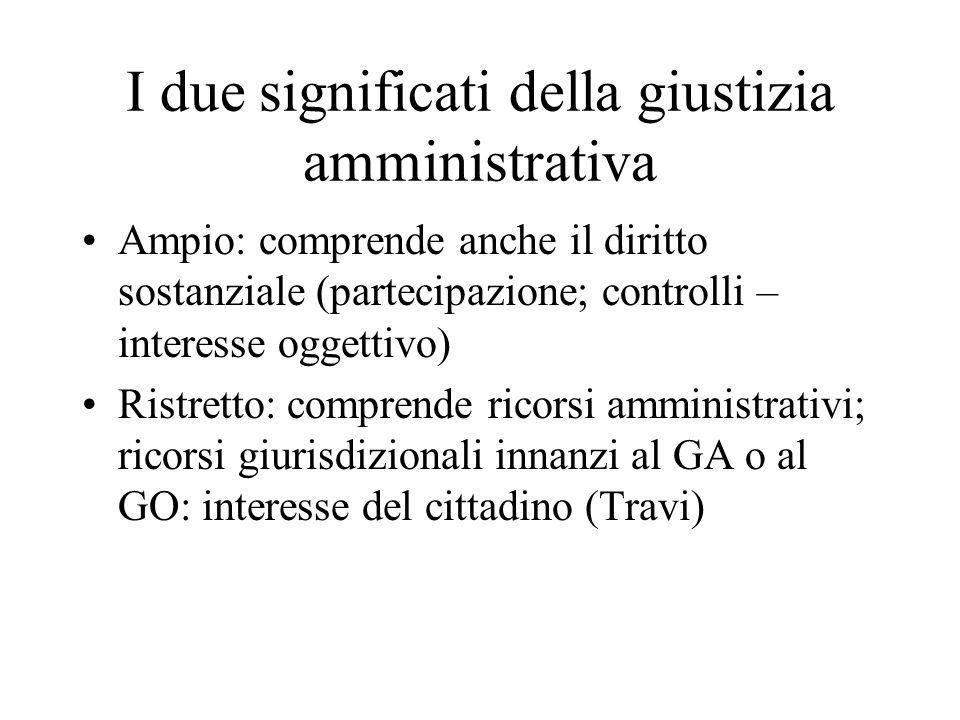 I due significati della giustizia amministrativa Ampio: comprende anche il diritto sostanziale (partecipazione; controlli – interesse oggettivo) Ristr