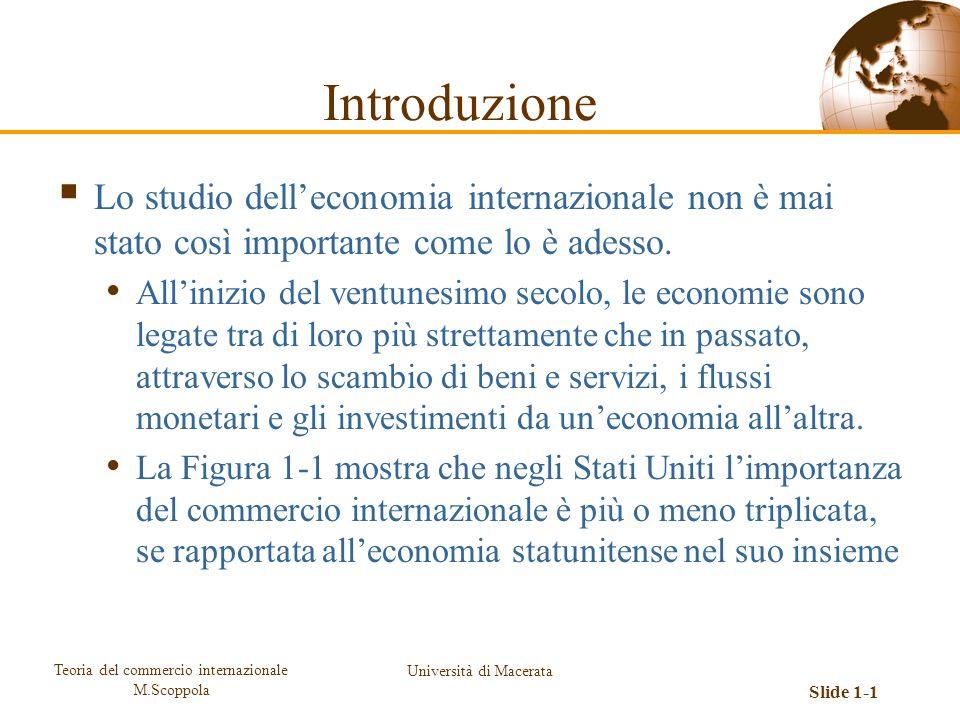 Teoria del commercio internazionale M.Scoppola Università di Macerata Slide 1-1 Lo studio delleconomia internazionale non è mai stato così importante
