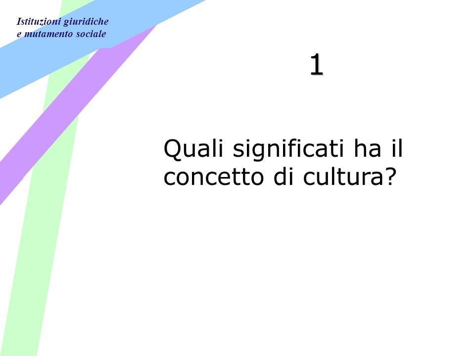 Istituzioni giuridiche e mutamento sociale 1 Quali significati ha il concetto di cultura