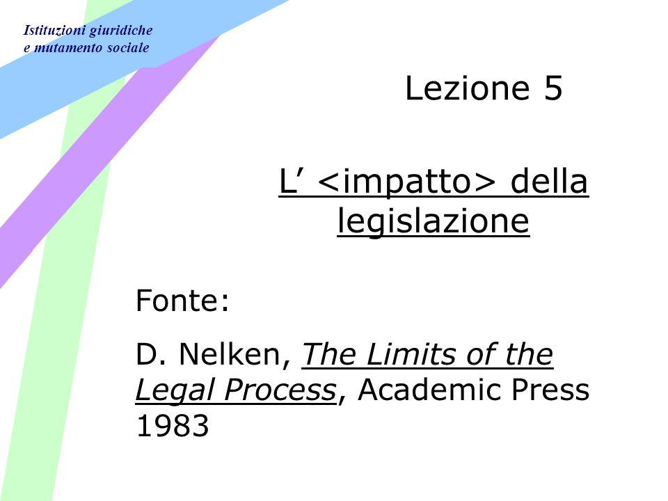 Istituzioni giuridiche e mutamento sociale Lezione 5 L della legislazione Fonte: D.