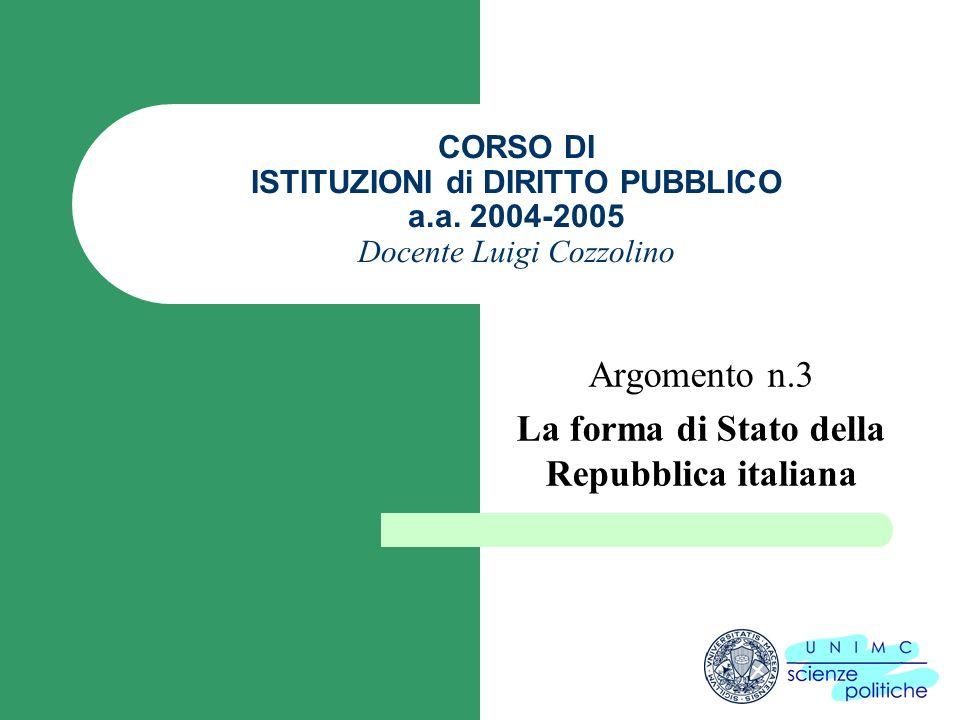 CORSO DI ISTITUZIONI di DIRITTO PUBBLICO a.a. 2004-2005 Docente Luigi Cozzolino Argomento n.3 La forma di Stato della Repubblica italiana