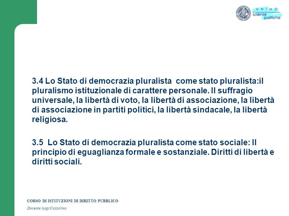 CORSO DI ISTITUZIONI DI DIRITTO PUBBLICO Docente luigi Cozzolino 3.4 Lo Stato di democrazia pluralista come stato pluralista:il pluralismo istituziona
