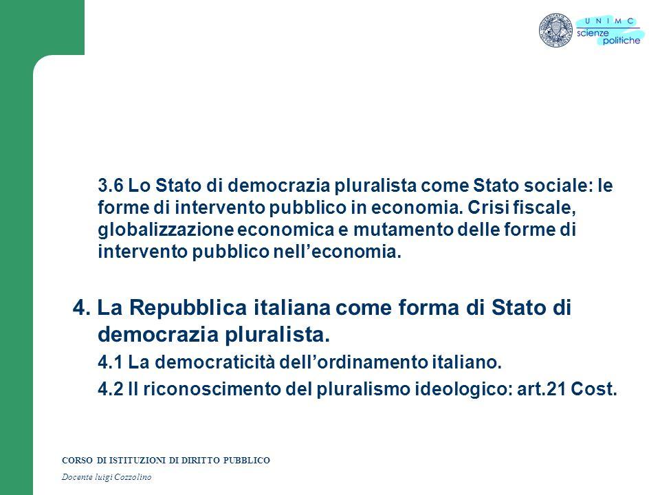 CORSO DI ISTITUZIONI DI DIRITTO PUBBLICO Docente luigi Cozzolino 4.3 Il riconoscimento del pluralismo delle formazioni sociali e politiche: artt.2,8,18,33,39,49 Cost.