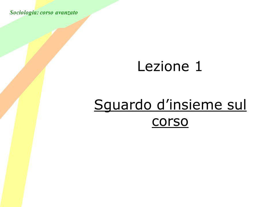 Sociologia: corso avanzato Lezione 1 Sguardo dinsieme sul corso