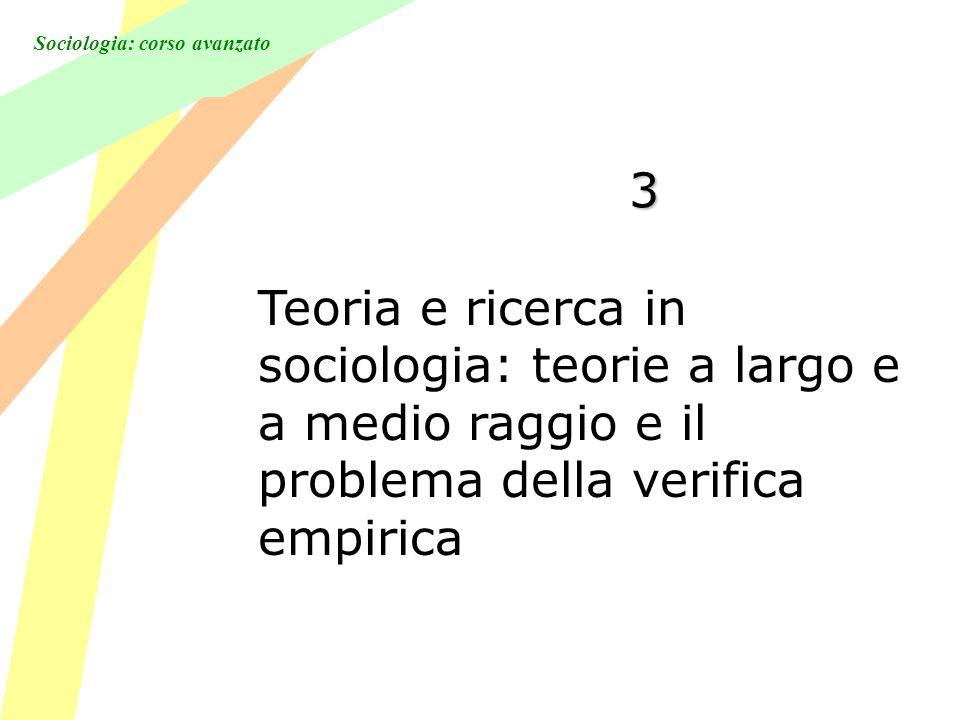 Sociologia: corso avanzato 3 Teoria e ricerca in sociologia: teorie a largo e a medio raggio e il problema della verifica empirica