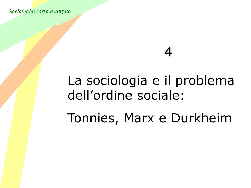 Sociologia: corso avanzato 4 La sociologia e il problema dellordine sociale: Tonnies, Marx e Durkheim