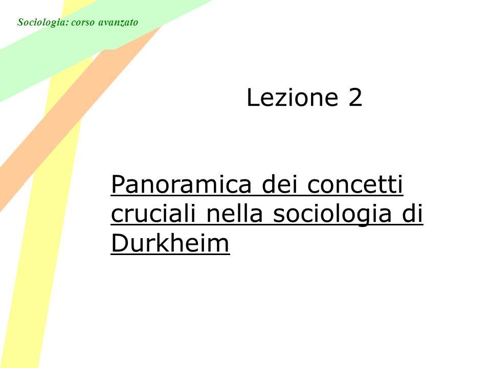 Sociologia: corso avanzato Lezione 2 Panoramica dei concetti cruciali nella sociologia di Durkheim