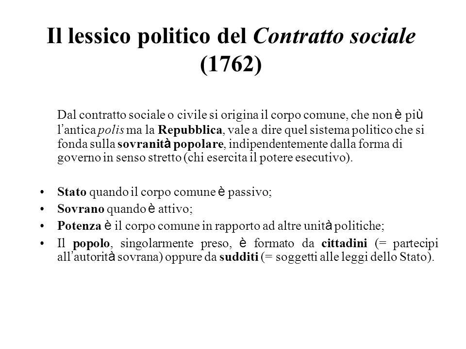 Il lessico politico del Contratto sociale (1762) Dal contratto sociale o civile si origina il corpo comune, che non è pi ù l antica polis ma la Repubb