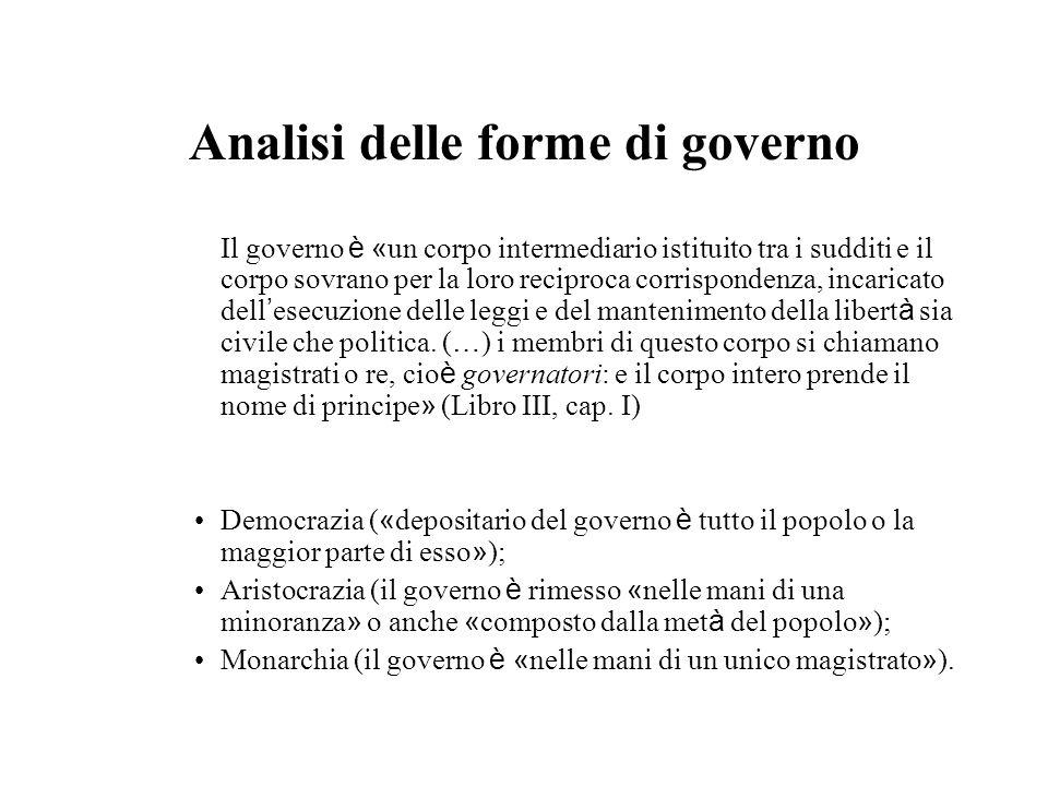 Analisi delle forme di governo Il governo è « un corpo intermediario istituito tra i sudditi e il corpo sovrano per la loro reciproca corrispondenza,