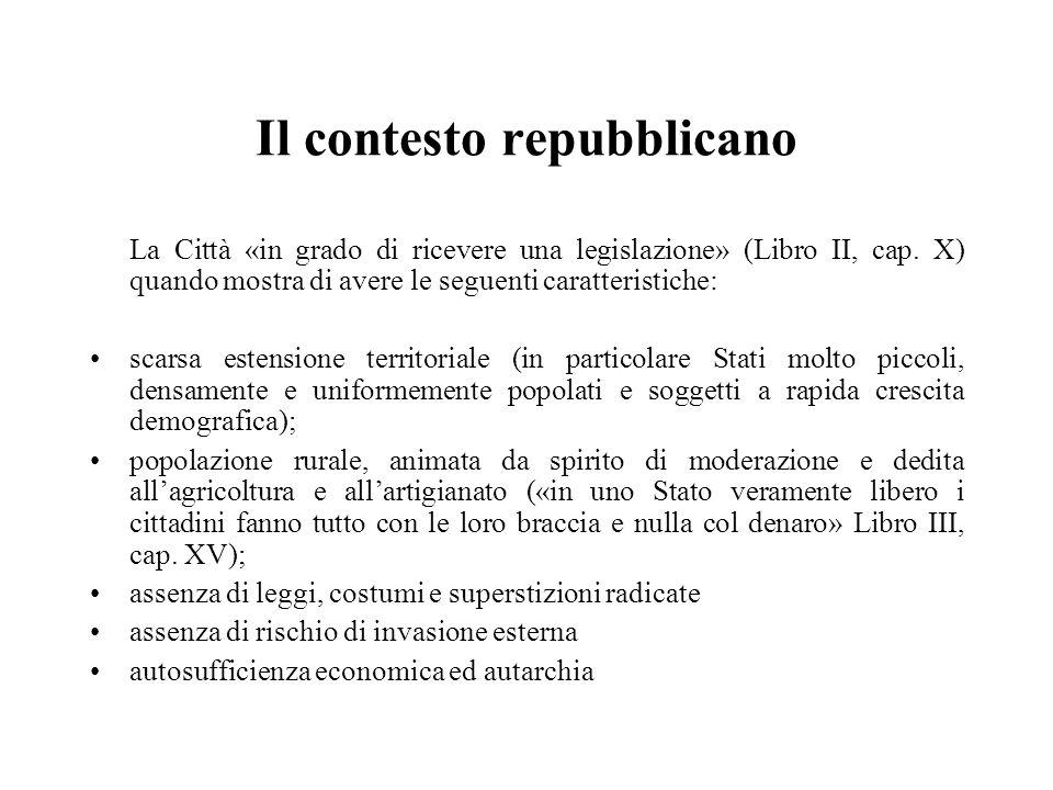 Il contesto repubblicano La Città «in grado di ricevere una legislazione» (Libro II, cap. X) quando mostra di avere le seguenti caratteristiche: scars