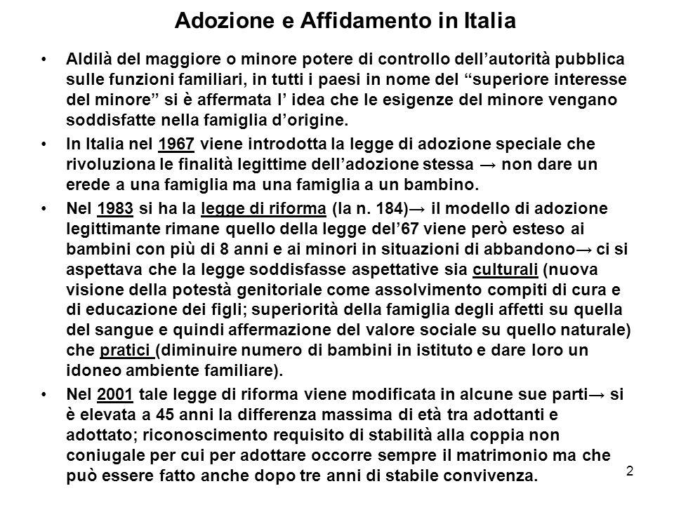 2 Adozione e Affidamento in Italia Aldilà del maggiore o minore potere di controllo dellautorità pubblica sulle funzioni familiari, in tutti i paesi i