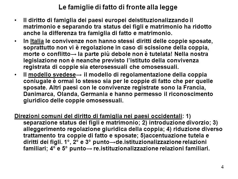4 Le famiglie di fatto di fronte alla legge Il diritto di famiglia dei paesi europei deistituzionalizzando il matrimonio e separando tra status dei fi