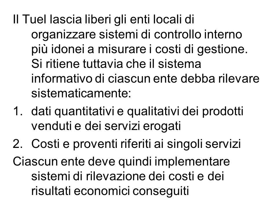 Il Tuel lascia liberi gli enti locali di organizzare sistemi di controllo interno più idonei a misurare i costi di gestione.