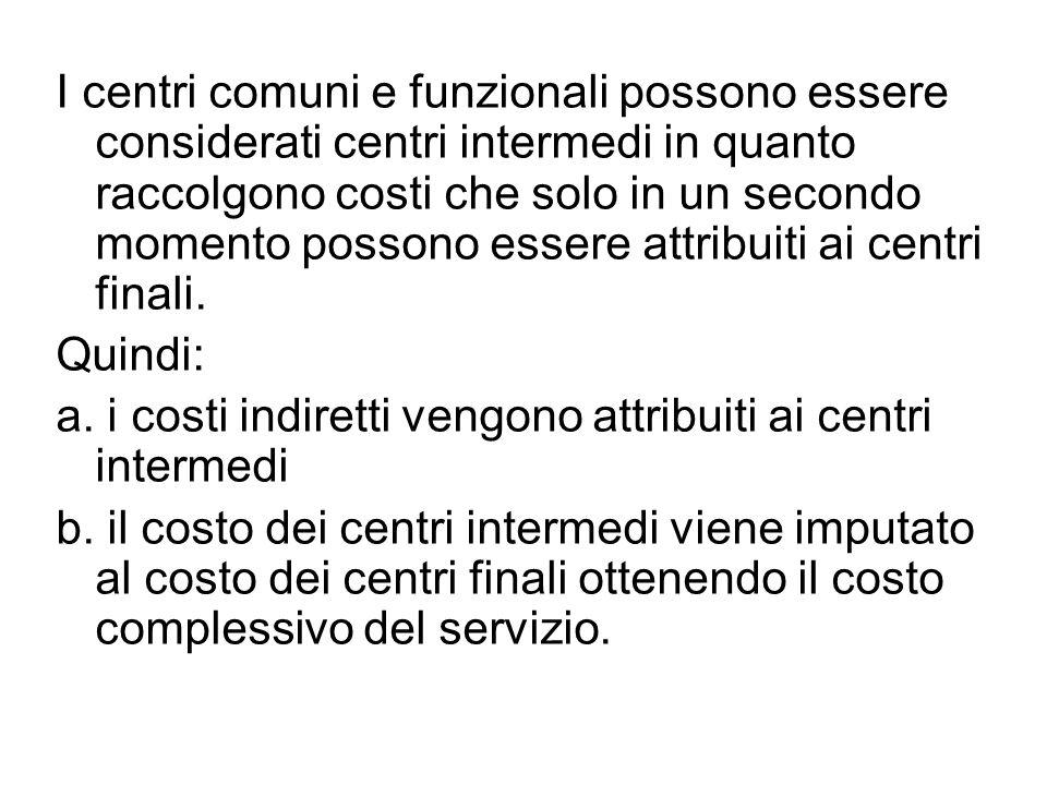 I centri comuni e funzionali possono essere considerati centri intermedi in quanto raccolgono costi che solo in un secondo momento possono essere attribuiti ai centri finali.