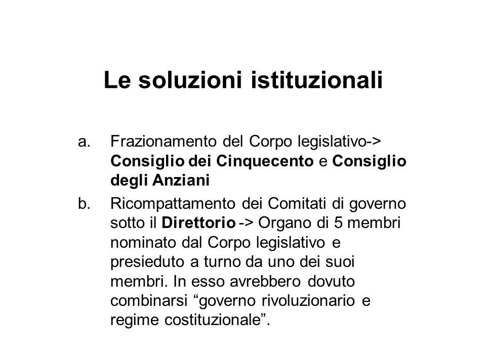 Le soluzioni istituzionali a.Frazionamento del Corpo legislativo-> Consiglio dei Cinquecento e Consiglio degli Anziani b.Ricompattamento dei Comitati