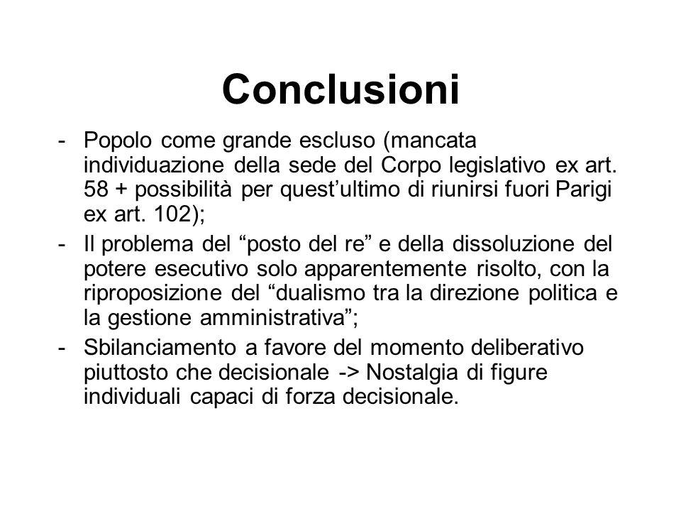 Conclusioni -Popolo come grande escluso (mancata individuazione della sede del Corpo legislativo ex art. 58 + possibilità per questultimo di riunirsi