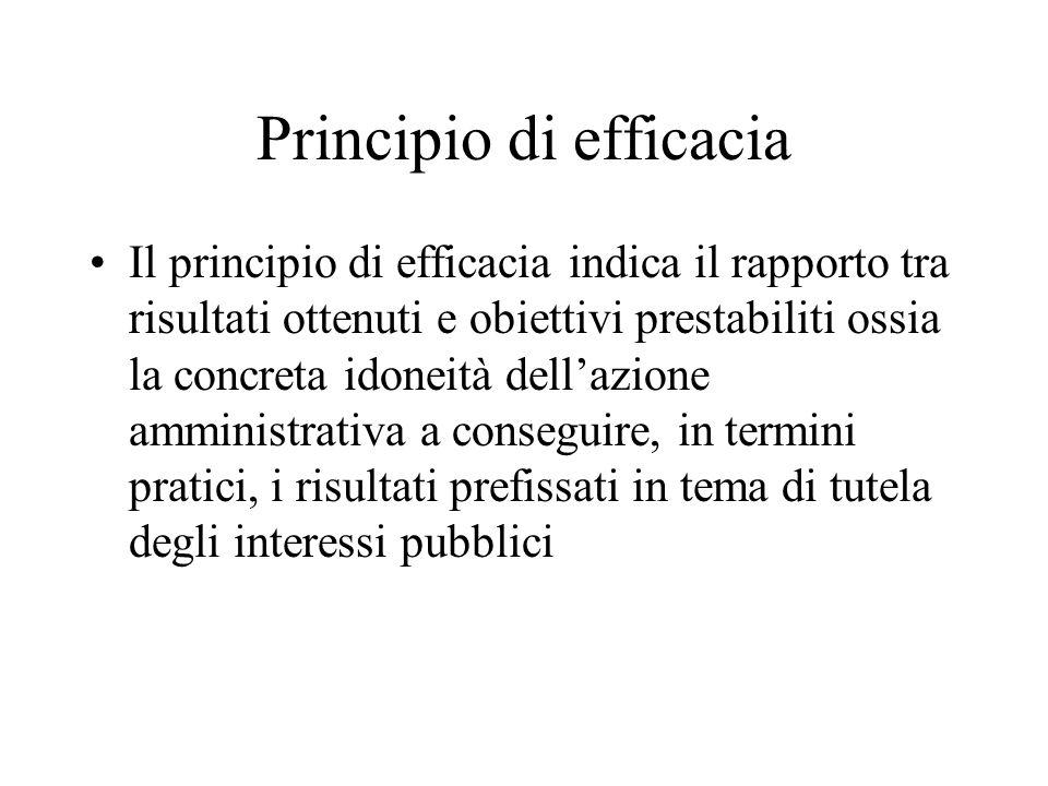 Principio di efficacia Il principio di efficacia indica il rapporto tra risultati ottenuti e obiettivi prestabiliti ossia la concreta idoneità dellazione amministrativa a conseguire, in termini pratici, i risultati prefissati in tema di tutela degli interessi pubblici