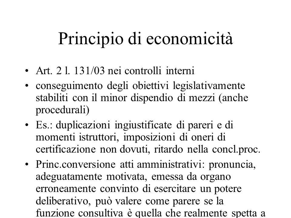 Principio di economicità Art. 2 l.