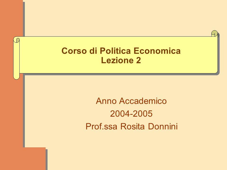 Corso di Politica Economica Lezione 2 Anno Accademico 2004-2005 Prof.ssa Rosita Donnini