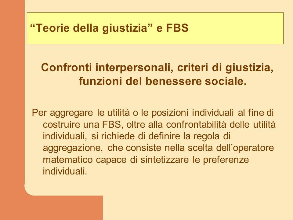 Teorie della giustizia e FBS Confronti interpersonali, criteri di giustizia, funzioni del benessere sociale. Per aggregare le utilità o le posizioni i