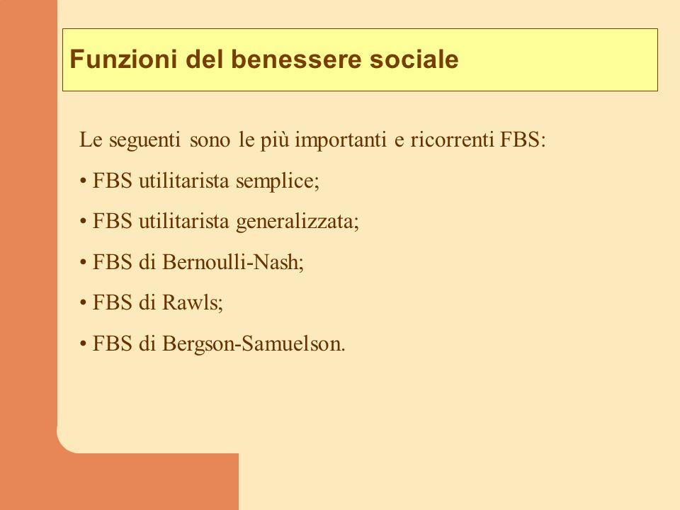 Funzioni del benessere sociale Le seguenti sono le più importanti e ricorrenti FBS: FBS utilitarista semplice; FBS utilitarista generalizzata; FBS di