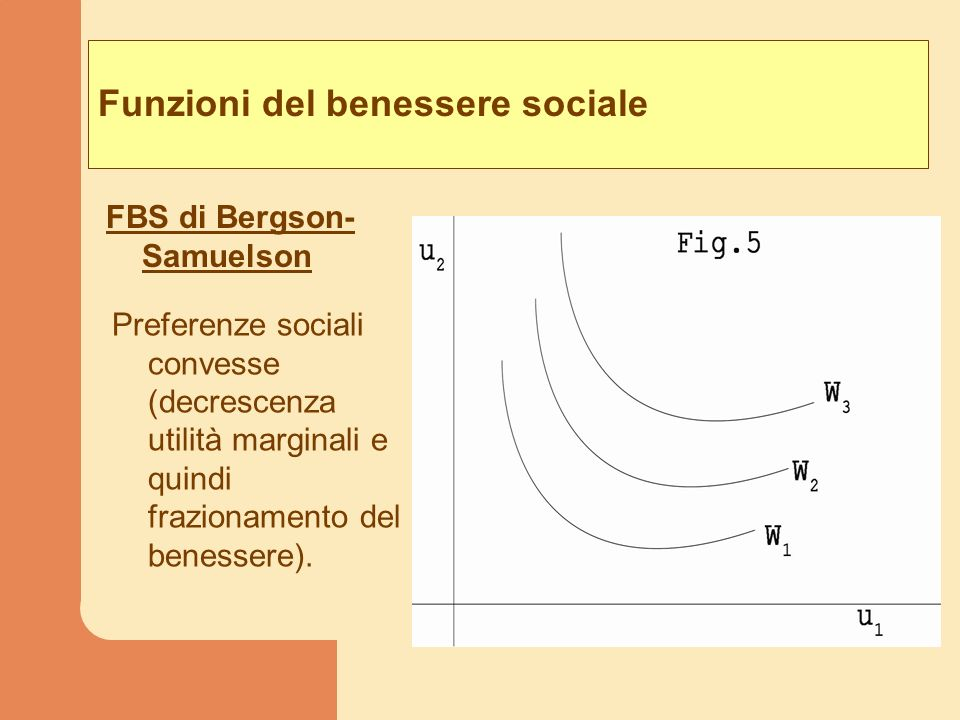 Funzioni del benessere sociale FBS di Bergson- Samuelson Preferenze sociali convesse (decrescenza utilità marginali e quindi frazionamento del benesse