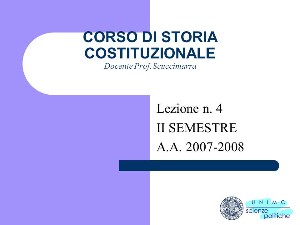 i CORSO DI STORIA COSTITUZIONALE Docente Prof. Scuccimarra Lezione n. 4 II SEMESTRE A.A. 2007-2008