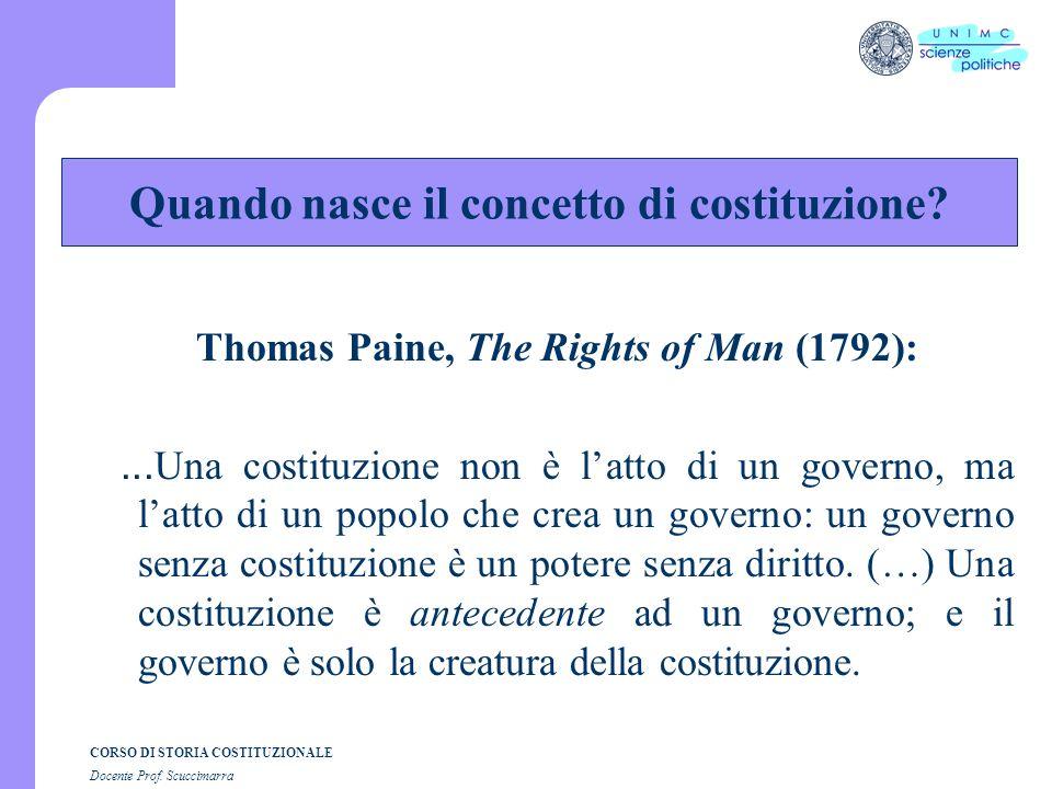 CORSO DI STORIA COSTITUZIONALE Docente Prof. Scuccimarra Thomas Paine, The Rights of Man (1792):... Una costituzione non è latto di un governo, ma lat